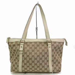 Auth Gucci Hand Bag Beige Canvas #1500G55